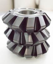 HSS double angle milling cutters, symmetrical with radius on the teeth.